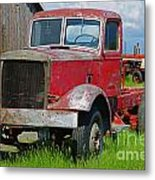 Old Rusted Semi-truck  Metal Print