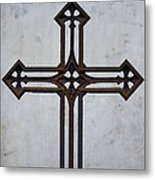 Old Rusty Vintage Cross Metal Print