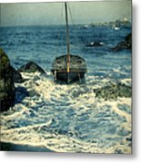Old Sailing Vessel Near The Rocky Shore Metal Print