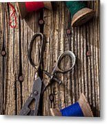 Old Scissors And Spools Of Thread Metal Print