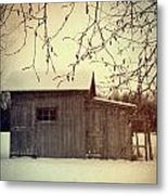 Old Shed In Wintertime Metal Print