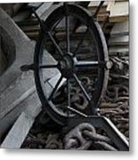 Old Ships Wheel, Chains And Wood Planks Metal Print