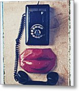 Old Telephone And Red Lips Metal Print