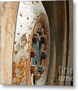 Old Tractor Wheel Metal Print