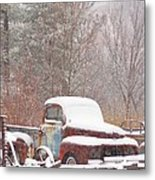 Old Truck Covered In Snow Metal Print