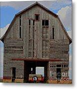 Old Wagon Older Barn Panoramic Stitch Metal Print