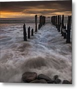 Old Wharf At Sunrise Saint Clair Beach Metal Print