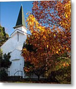 Old White Church In Autumn Metal Print