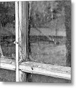 Old Window Reflection Metal Print