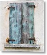 Old Window With Blue Shutte Metal Print