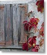 Old Window With Red Leaves Metal Print