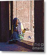 Old Woman In Centro Metal Print