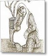 Old Woman In The Street  Sitting Near A Tree On A Bench Looking Sad And Tired Metal Print