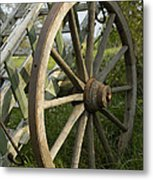 Old Wooden Cartwheel - Nostalgia Metal Print