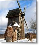Old Wooden Windmill Metal Print