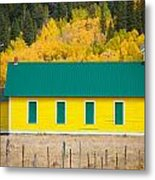 Old Yellow School House With Autumn Colors Metal Print