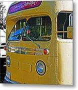 Old Yellow Transit Bus Abstract Metal Print