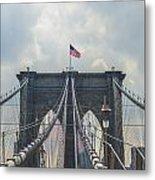 Ole Glory Over Brooklyn Bridge Metal Print