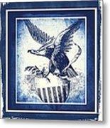 On Eagles Wings Blue Metal Print