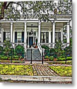 On Guard In New Orleans Painted Metal Print