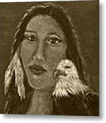 Onawa Native American Woman Of Wisdom With Eagle In Sepia Metal Print by The Art With A Heart By Charlotte Phillips