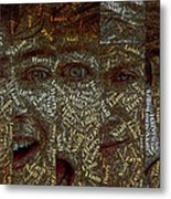 One Direction Faces Mosaic Metal Print