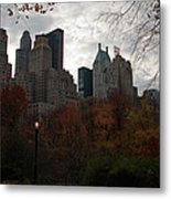 One Light On In Central Park Metal Print