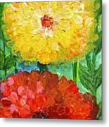 One Yellow One Red And Orange Flower Shines Metal Print