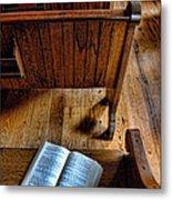 Open Book On Church Pew Metal Print