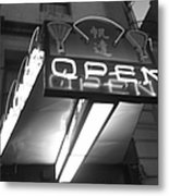 Open For Business Bw Metal Print