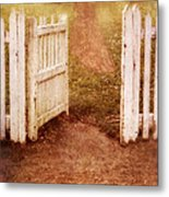 Open Gate To Cottage Metal Print