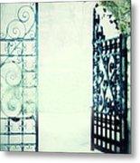 Open Iron Gate In Fog Metal Print