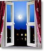 Open Window At Night Metal Print