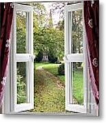 Open Window To A Church Garden Metal Print