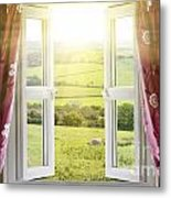 Open Window With Countryside View Metal Print