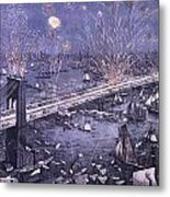 Opening Of The Great New York And Brooklyn Bridge And Grand Display Of Fire Works Metal Print