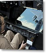 Operator Refuels An F-16 Fighting Metal Print by Stocktrek Images