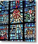 Orange Blue Stained Glass Window Metal Print by Thomas Woolworth