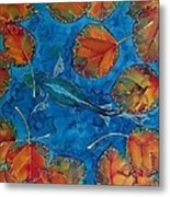 Orange Leaves And Fish Metal Print by Carolyn Doe