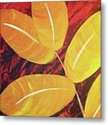 Orange Leaves Metal Print