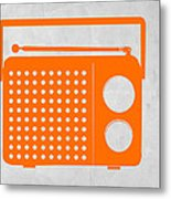 Orange Transistor Radio Metal Print