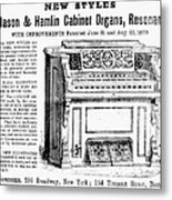 Organ Ad, 1870 Metal Print