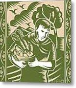 Organic Farmer With Basket Harvest Crops Retro Metal Print by Aloysius Patrimonio