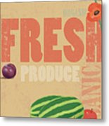 Organic Fresh Produce Poster Illustration Metal Print by Don Bishop