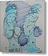 Original Sketch For The Stripper's Mirror Metal Print