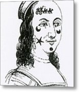 Ornamental Patches On Face, 17th Century Metal Print