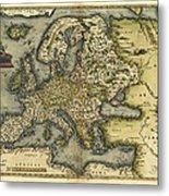 Ortelius's Map Of Europe, 1570 Metal Print
