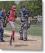 Ouch Baseball Foul Ball Digital Art Metal Print