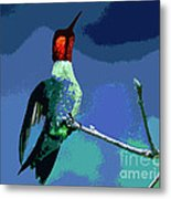 Out On A Limb - Blue Metal Print