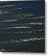 Outrigger Canoes Race From Molokai Metal Print